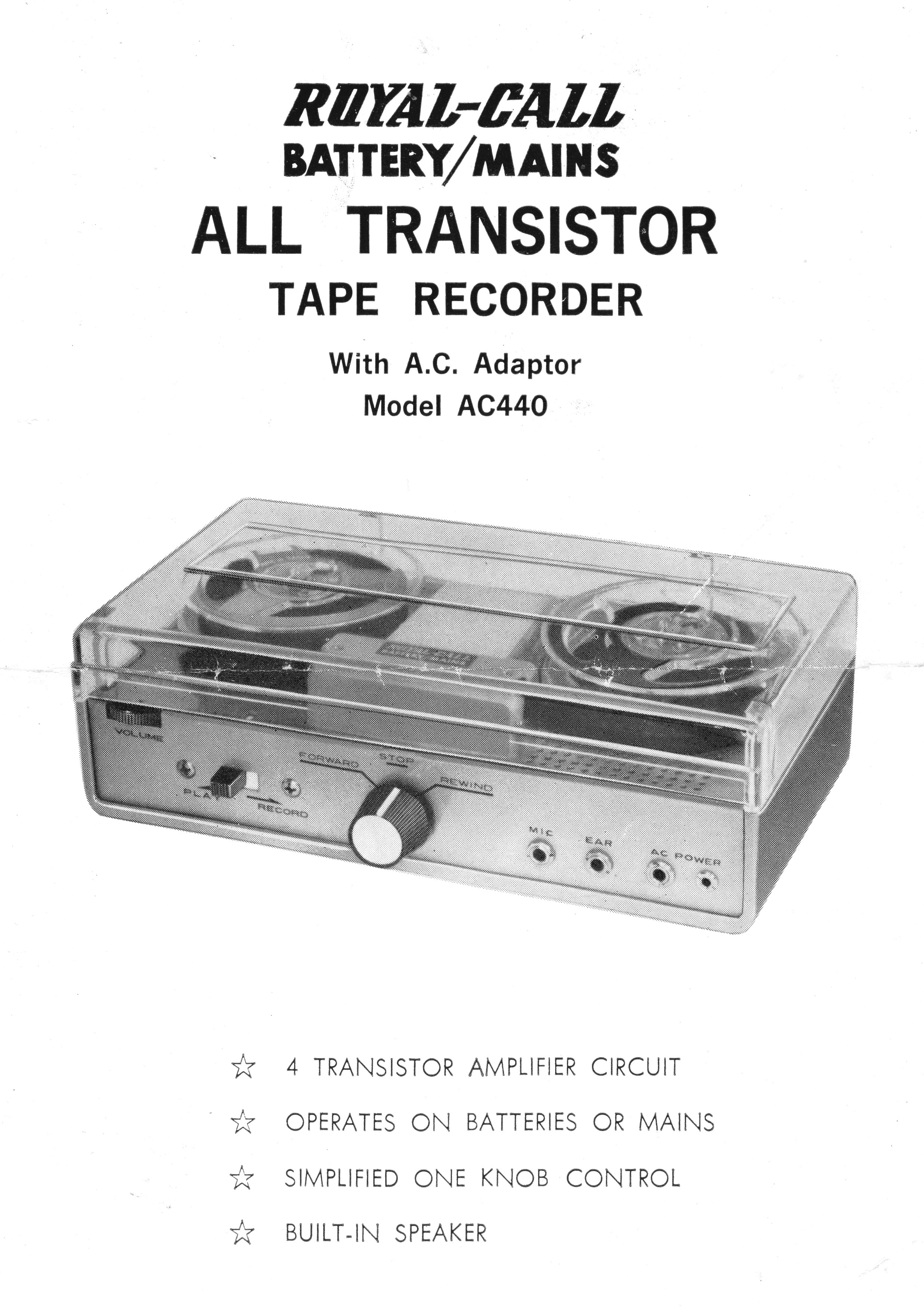 Royal-Call Tape Recorder Model AC440