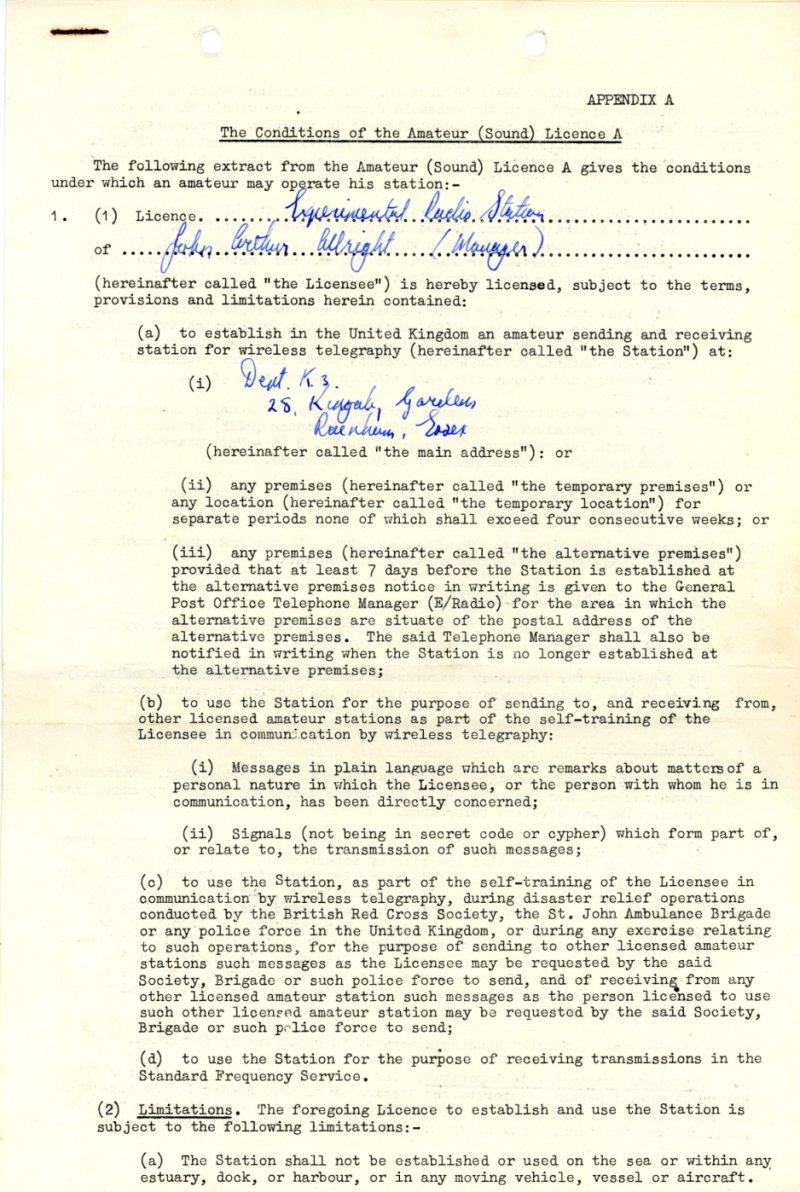 Fake experimental radio licence (1967)