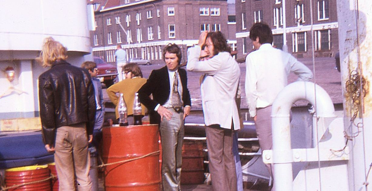 RNI Owner Edwin Bollier, Andy Archer, (side of Andy Mercer - Chicago) - Scheveningen Harbor – 1970 (Courtesy Lynn Strang)