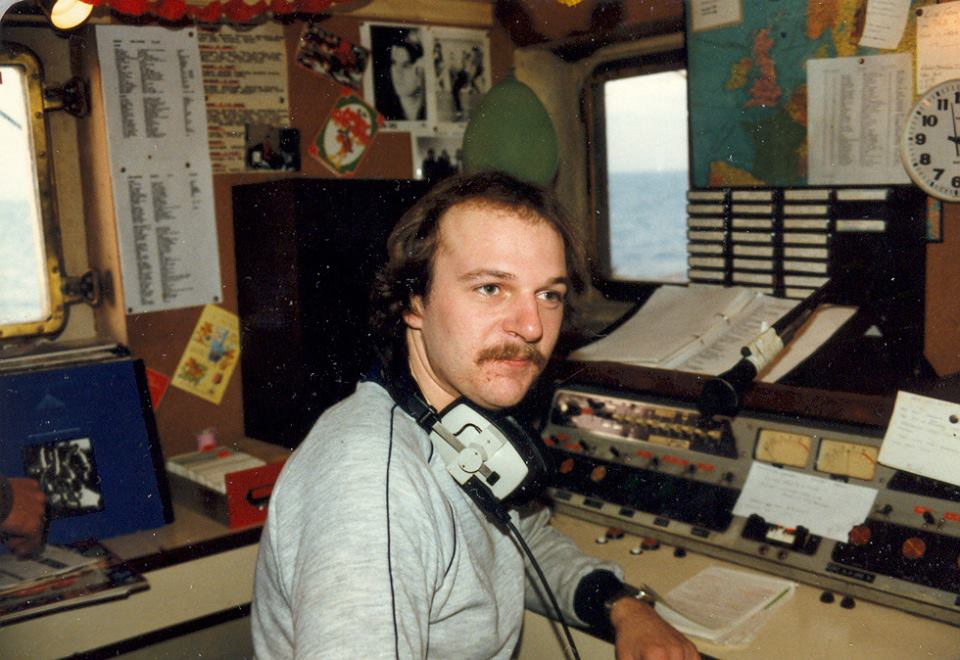 Keith King aboard Radio Caroline