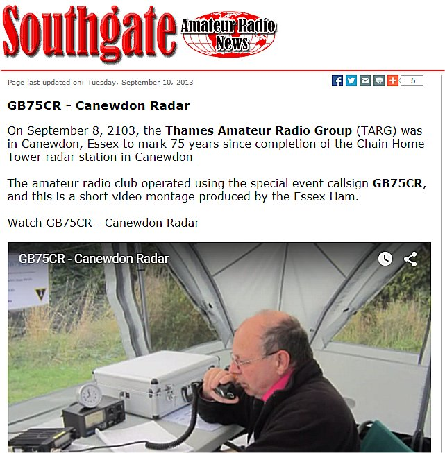 CLICK on this picture for more information about the Canewdon Radar Site