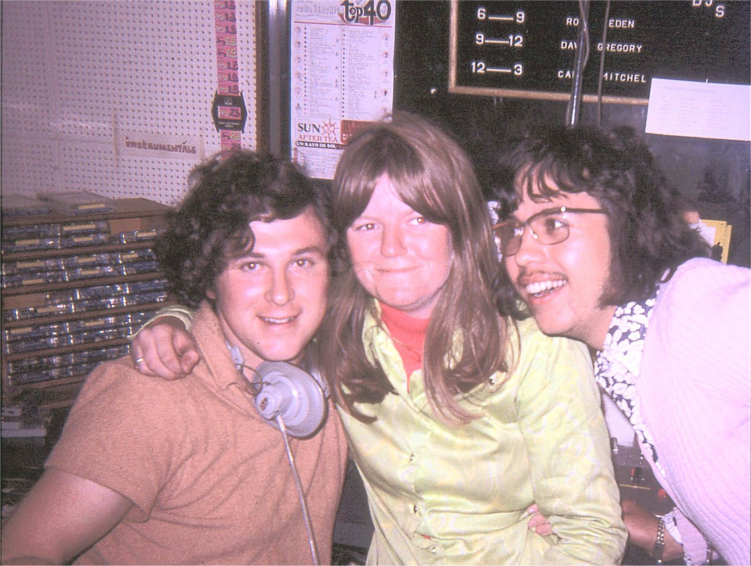 Radio Veronica Studio with DJ's Stephen Lad, Tracy Deram and Jerry - 1969