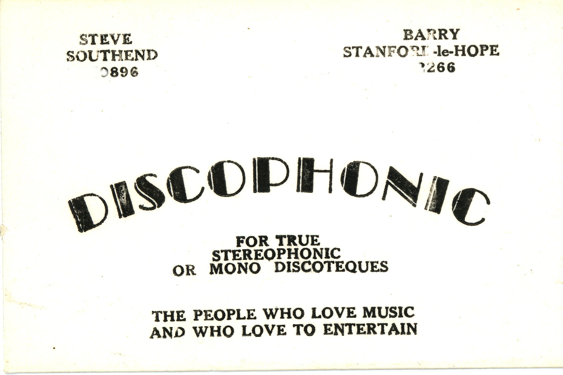 Discophonic Card 1968-2