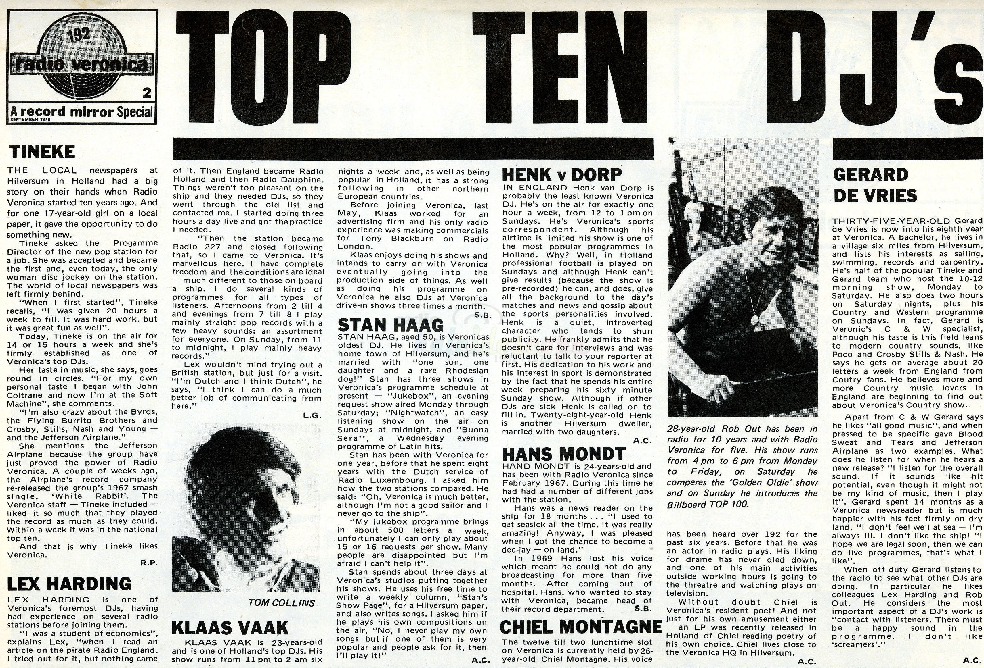 Radio Veronica - Top 10 - 1970 Courtesy Linda Van Schagen)