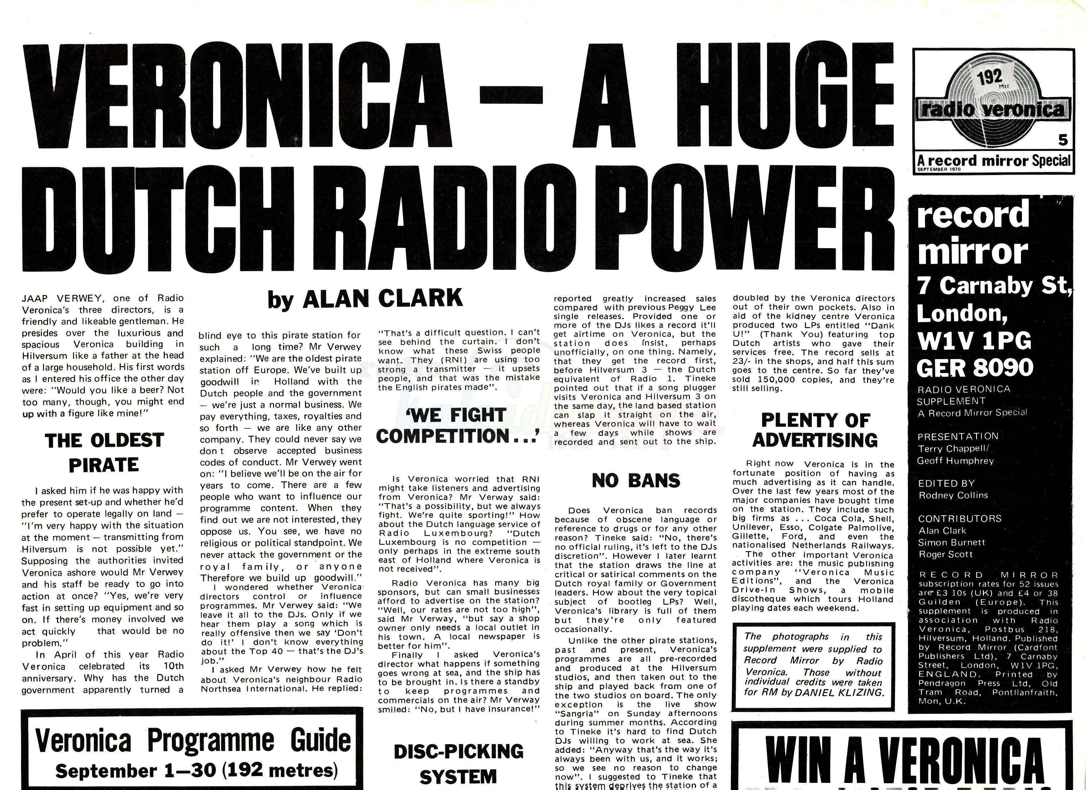 Radio Veronica - 1970 (Courtesy Linda Van Schegan)