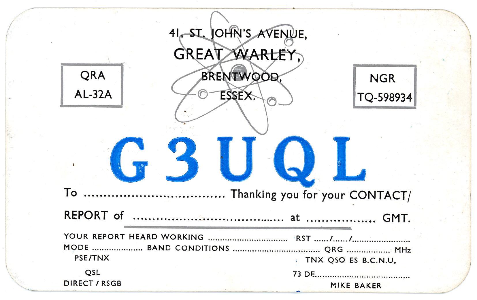 G3UQL-QSL CardA