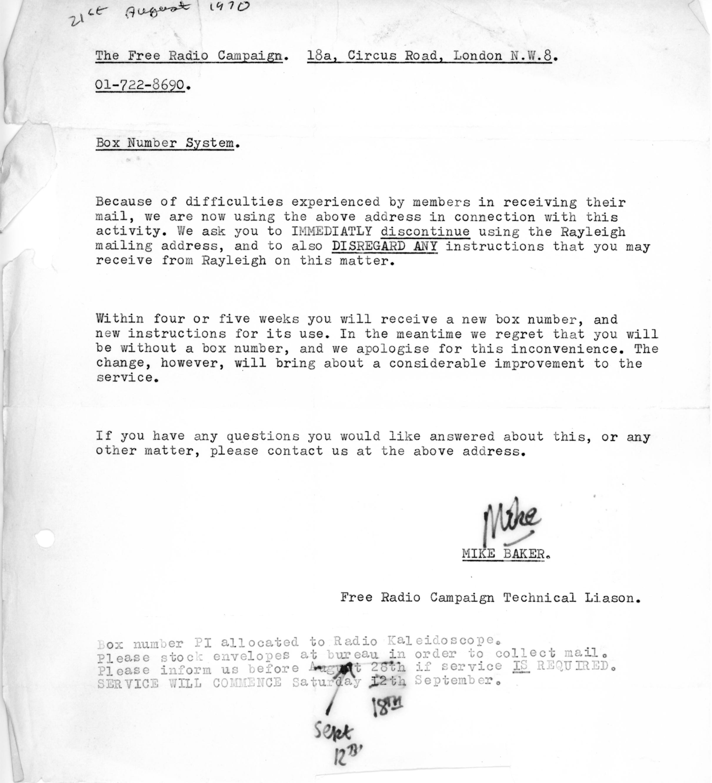 Mike Baket Letter 1970