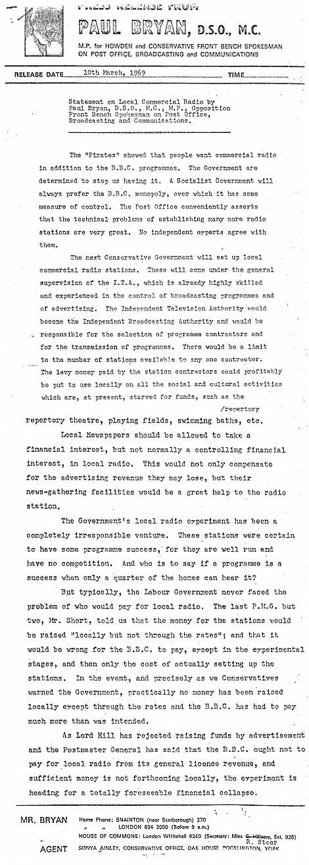 Paul Bryan DSO MC Convserative - Press Release 1969 C