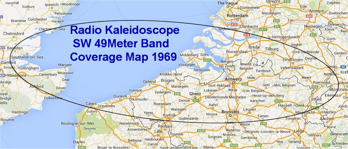 Radio Kaleidoscope - Sort Wave - coverage map 1969-2s