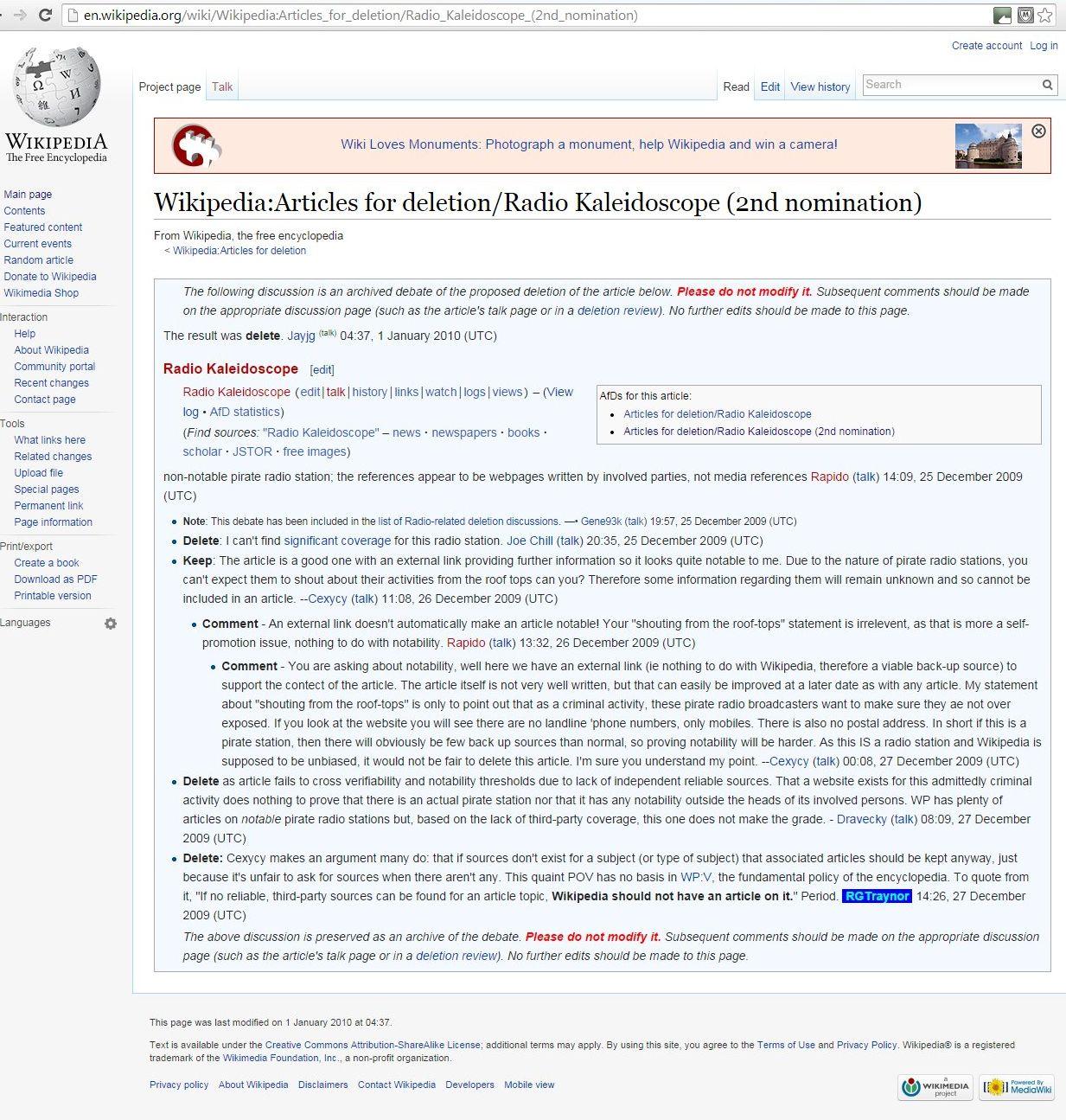 Radio Kaleidoscope wiki deletion article