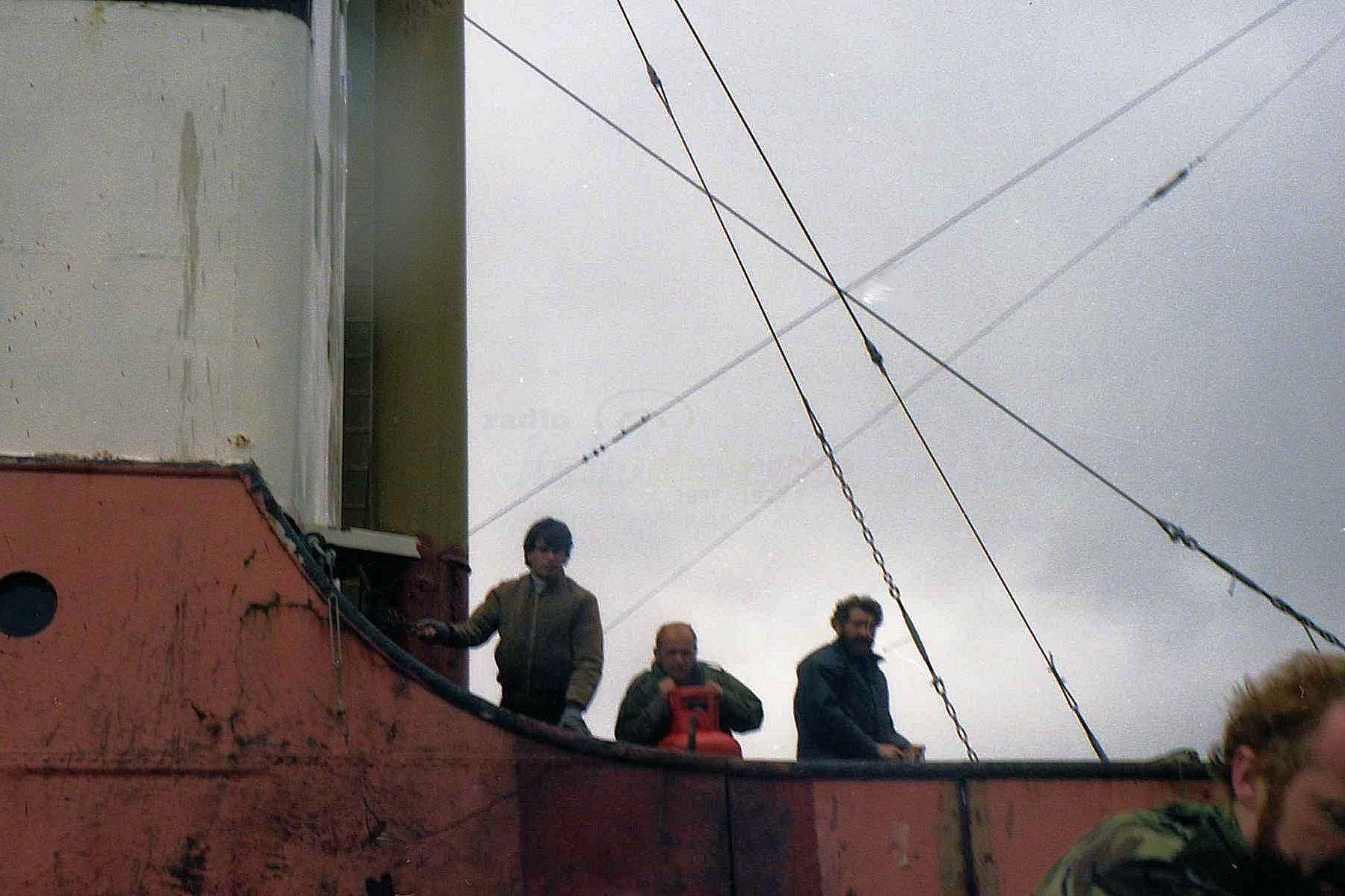 Radio Lazer - The cautious crew manning one of the defense system - 1984 (Courtesy John Payne)